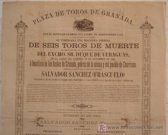 Carteles Toros: CARTEL TOROS GRANADA , 1881 , ANTIGUO , ORIGINAL , - Foto 2 - 23506440