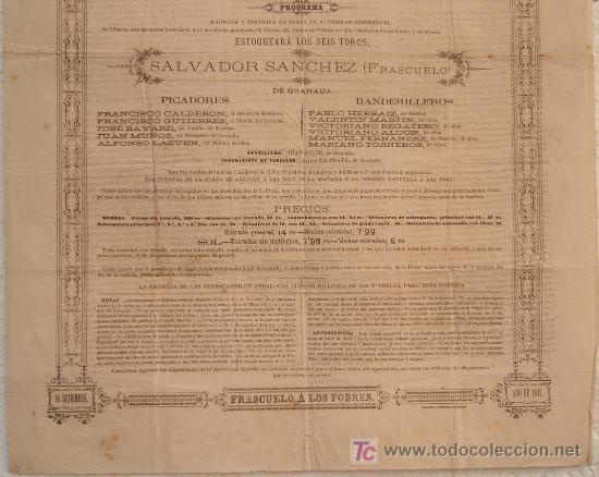 Carteles Toros: CARTEL TOROS GRANADA , 1881 , ANTIGUO , ORIGINAL , - Foto 3 - 23506440