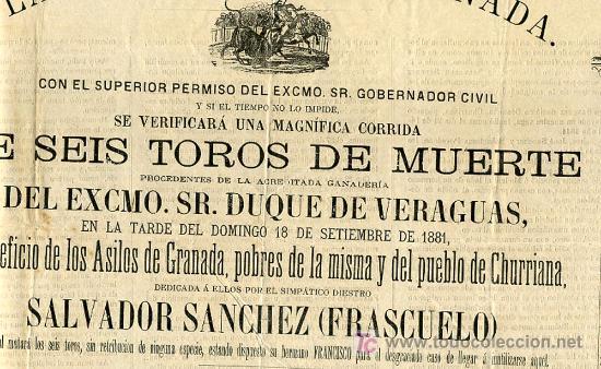 Carteles Toros: CARTEL TOROS GRANADA , 1881 , ANTIGUO , ORIGINAL , - Foto 4 - 23506440