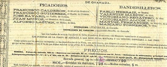 Carteles Toros: CARTEL TOROS GRANADA , 1881 , ANTIGUO , ORIGINAL , - Foto 5 - 23506440