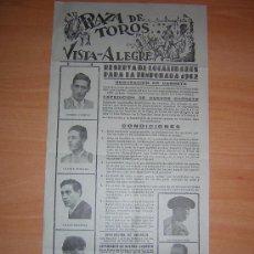 Carteles Toros: PLAZA DE TOROS DE VISTA-ALEGRE. Lote 26680898
