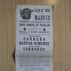Carteles Toros: CARTEL DE TOROS DE MADRID. 1949.. Lote 15354694
