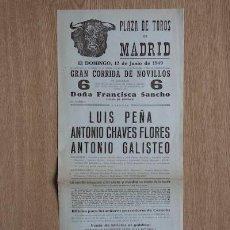 Carteles Toros: CARTEL DE TOROS DE MADRID. 1949.. Lote 15354715