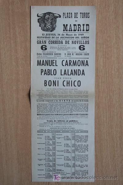 CARTEL DE TOROS DE MADRID. 1949. (Coleccionismo - Carteles Gran Formato - Carteles Toros)