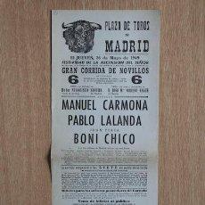 Carteles Toros: CARTEL DE TOROS DE MADRID. 1949.. Lote 15354727