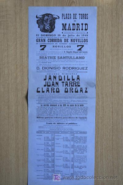 CARTEL DE TOROS DE MADRID. 1948. (Coleccionismo - Carteles Gran Formato - Carteles Toros)