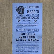 Carteles Toros: CARTEL DE TOROS DE MADRID. 1948.. Lote 15354733
