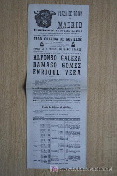 CARTEL DE TOROS DE MADRID. 1951. (Coleccionismo - Carteles Gran Formato - Carteles Toros)