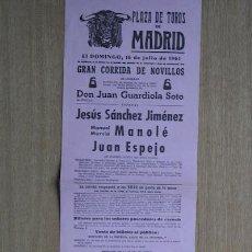 Carteles Toros: CARTEL DE TOROS DE MADRID. 1961.. Lote 15749935