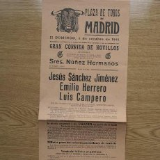 Carteles Toros: CARTEL DE TOROS DE MADRID. 1961.. Lote 15933267