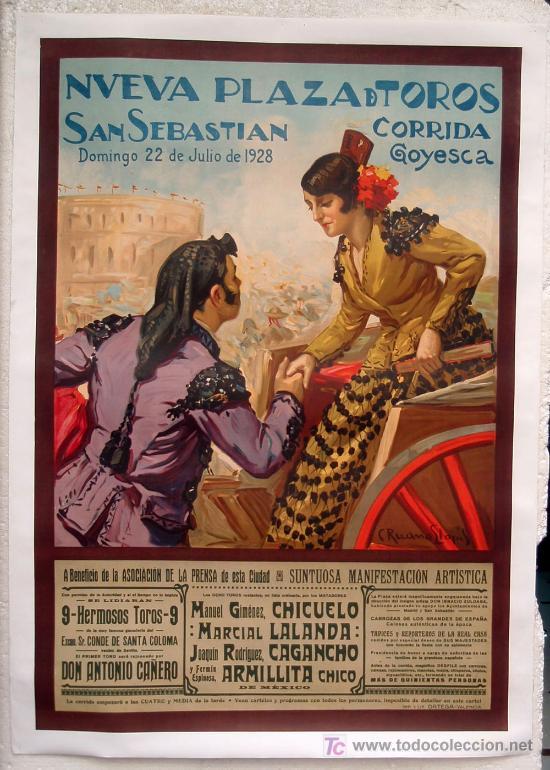 CARTEL TOROS, PLAZA DE SAN SEBASTIAN 1928, CORRIDA GOYESCA, ENTELADO GRANDE ,RUANO LLOPIS (Coleccionismo - Carteles Gran Formato - Carteles Toros)