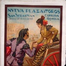 Carteles Toros: CARTEL TOROS, PLAZA DE SAN SEBASTIA 1928, CORRIDA GOYESCA, ENTELADO GRANDE ,RUANO LLOPIS. Lote 152388153