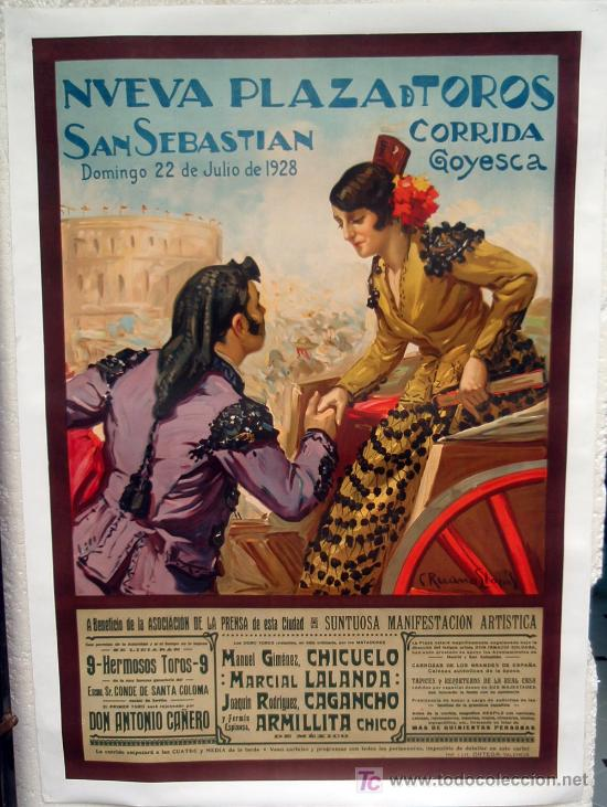 Carteles Toros: CARTEL TOROS, PLAZA DE SAN SEBASTIAN 1928, CORRIDA GOYESCA, ENTELADO GRANDE ,RUANO LLOPIS - Foto 2 - 152388153