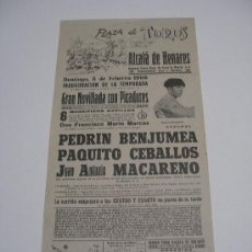 Carteles Toros: CARTEL TOROS EN ALCALÁ DE HENARES . 1966 . NOVILLADA CON PICADORES . BENJUMEA , CEBALLOS , MACARENO . Lote 15967218