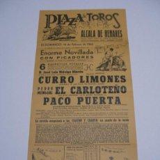 Carteles Toros: CARTEL PLAZA TOROS ALCALA DE HENARES . 1965 . NOVILLADA CON PICADORES . LIMONES , CARLOTEÑO , PUERTA. Lote 15967540