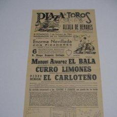 Carteles Toros: CARTEL TOROS ENALCALA DE HENARES .1965 NOVILLADA CON PICADORES . EL BALA , LIMONES , CARLOTEÑO . Lote 15967680