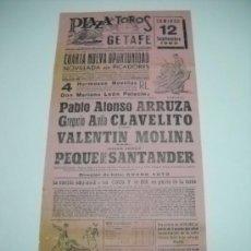 Carteles Toros: PLAZA DE TOROS DE GETAFE . SEPTIEMBRE 1965 . NOVILLADA SIN PICADORES . DTOR LIDIA : CURRO SOTO . . Lote 16209510