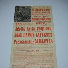 Carteles Toros: CARTEL TOROS SAN SEBASTIÁN DE LOS REYES. ABRIL 1965 . NOVILLADA CON PICADORES .43,5X21 . Lote 16324592