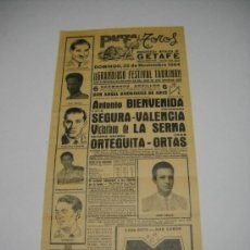 Carteles Toros: CARTEL PLAZA TOROS GETAFE . NOVIEMBRE 1964 . FESTIVAL TAURINO . BIENVENIDA , VALENCIA ....... Lote 16560459