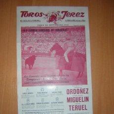 Carteles Toros: TOROS EN JEREZ 1968 CONCURSO DE GANADERIAS . Lote 27047765