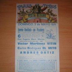 Carteles Toros: PLAZA DE TOROS DE VISTA ALEGRE. Lote 27620344