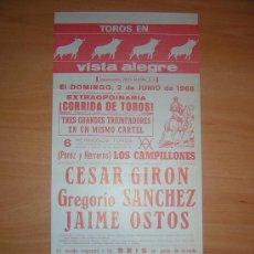 Carteles Toros: PLAZA DE TOROS DE VISTA ALEGRE. Lote 27153016