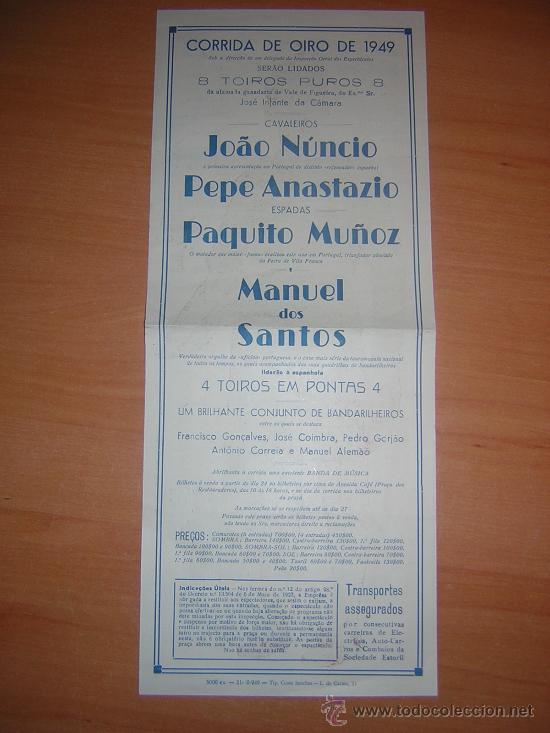 Carteles Toros: PLAZA DE TPROS DE ALGES PORTUGAL MANUEL DE LOS SANTOS,PAQUITO MUÑOZ - Foto 2 - 26173672