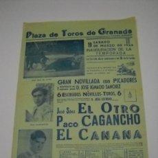 Carteles Toros: CARTEL PLAZA TOROS GRANADA . 1966. INAGURACIÓN DE LA TEMPORADA . NOVILLADA CON PICADORES . 31X43. Lote 16771307