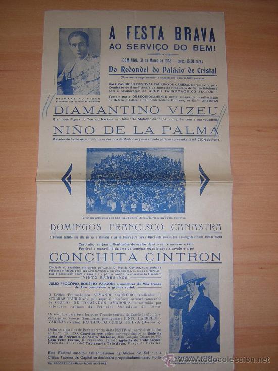 TOROS EN PORTUGAL 1946 COCHITA CINTRON (Coleccionismo - Carteles Gran Formato - Carteles Toros)