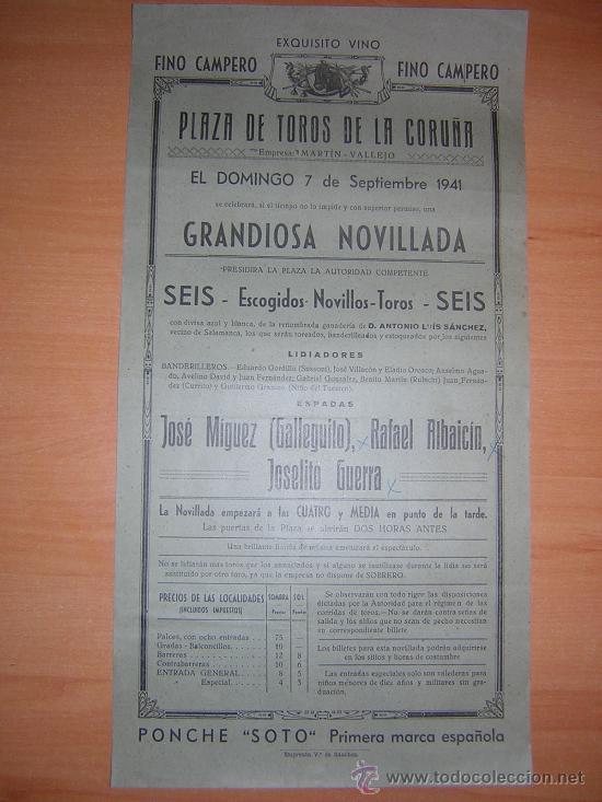 LA CORUÑA 1941 GALLEGITO,ALBAICIN,JOSEITO GERRA (Coleccionismo - Carteles Gran Formato - Carteles Toros)