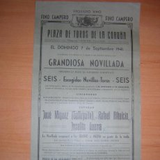 Carteles Toros: LA CORUÑA 1941 GALLEGITO,ALBAICIN,JOSEITO GERRA. Lote 27335567