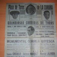 Carteles Toros: LA CORUÑA 1929 CORRIDA GOYESCA. Lote 27451304