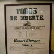 Carteles Toros: TOROS DE MUERTE A BENEFICIO DEL SANTO HOSPITAL GENERAL DE VALENCIA.1848. Lote 19145887