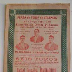 Carteles Toros: CARTEL PLAZA DE TOROS DE VALENCIA - MARZO 1899 - CORRIDA DE NOVILLOS: MACHAQUITO Y LAGARTIJO - CHICO. Lote 17532933