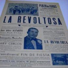 Carteles Toros: CARTEL. PLAZA TOROS CARTAGENA 29 AGOSTO 1959. ESPECTÁCULO CÓMICO TAURINO LA REVOLTOSA. ALFARITO. Lote 21508410