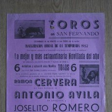 Carteles Toros: CARTEL DE TOROS DE SAN FERNANDO.. Lote 18028862