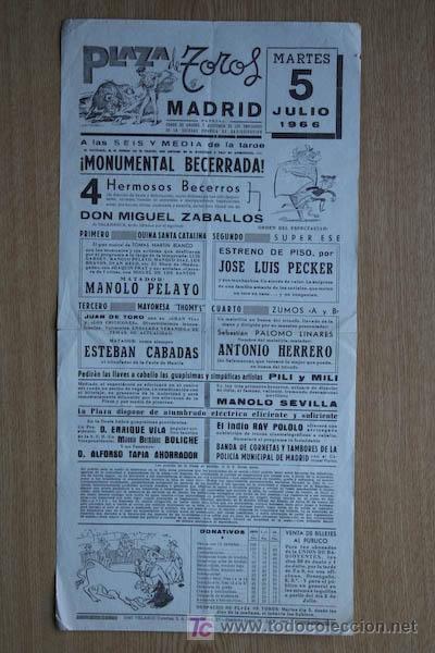 CARTEL DE TOROS DE MADRID. 1966. (Coleccionismo - Carteles Gran Formato - Carteles Toros)