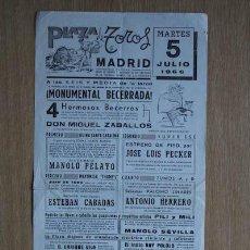Carteles Toros: CARTEL DE TOROS DE MADRID. 1966.. Lote 18029610