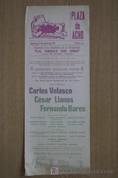 CARTEL DE TOROS DE ACHO. LIMA. PERÚ. (Coleccionismo - Carteles Gran Formato - Carteles Toros)