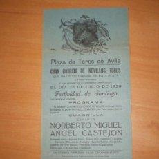 Carteles Toros: AVILA,25 DE JULIO 1920 FESTIVIDAD DE SANTIAGO,NORBERTO MIGUEL,ANGEL CASTEJON. Lote 26381168
