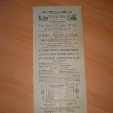 Carteles Toros: SANTANDER 1919 GANADERIA D.BERNABE COBALEDA,ANTES CARRIQUIRI.ANDRES PEREZ,VICTORIANO ROGER,PAREJITO. Lote 27047763