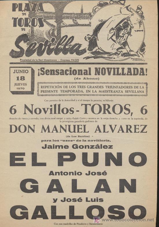 PLAZA DE TOROS DE SEVILLA. CARTEL (45X21). NOVILLADA 18 JUNIO 1970. (Coleccionismo - Carteles Gran Formato - Carteles Toros)