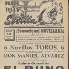 Carteles Toros: PLAZA DE TOROS DE SEVILLA. CARTEL (45X21). NOVILLADA 18 JUNIO 1970.. Lote 19335335