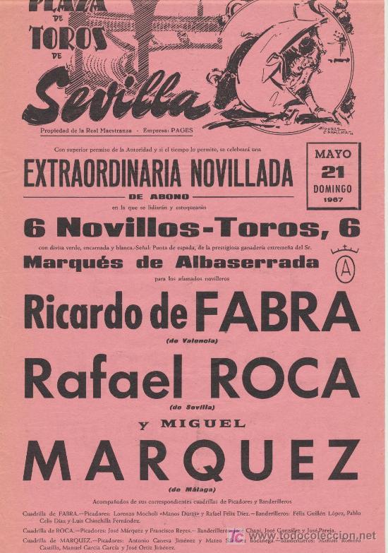 PLAZA DE TOROS DE SEVILLA. CARTEL (45X21). NOVILLADA 21 DE MAYO DE 1967. (Coleccionismo - Carteles Gran Formato - Carteles Toros)