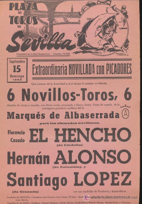 PLAZA DE TOROS DE SEVILLA CARTEL (45X21) NOVILLADA CON PICADORES. 15 SEPTIEMBRE DE 1968. (Coleccionismo - Carteles Gran Formato - Carteles Toros)