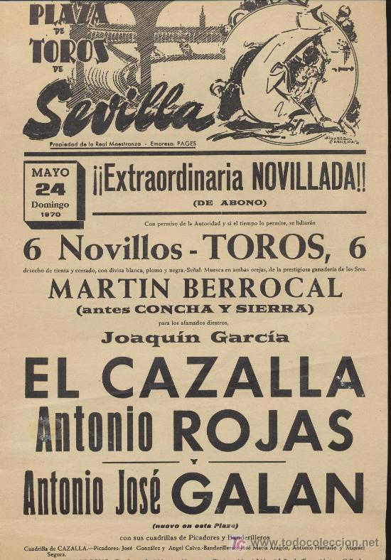 PLAZA DE TOROS DE SEVILLA. CARTEL (45X21). NOVILLADA 24 DE MAYO 1970. (Coleccionismo - Carteles Gran Formato - Carteles Toros)