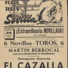 Carteles Toros: PLAZA DE TOROS DE SEVILLA. CARTEL (45X21). NOVILLADA 24 DE MAYO 1970.. Lote 19336649