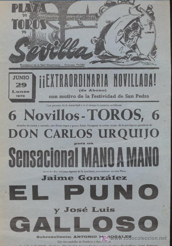PLAZA DE TOROS DE SEVILLA. CARTEL (45X21). NOVILLADA 29 DE JUNIO 1970. (Coleccionismo - Carteles Gran Formato - Carteles Toros)
