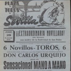 Carteles Toros: PLAZA DE TOROS DE SEVILLA. CARTEL (45X21). NOVILLADA 29 DE JUNIO 1970.. Lote 19336747