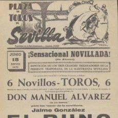 Carteles Toros: PLAZA DE TOROS DE SEVILLA. CARTEL (45X21). NOVILLADA 18 JUNIO 1970.. Lote 19336777